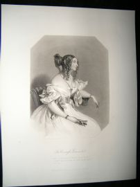 Pretty Lady 1867 Antique Print. Countess of Guiccioli